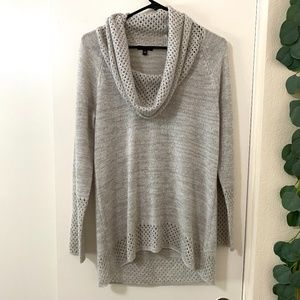 Gray Cowl Neck Long Sleeve Sweater